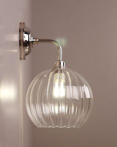 Globe Light Hereford Ribbed Glass Globe Contemporary Bathroom Wall Light Ip44 Rated