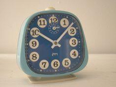 retro blue french wind up alarm clock japy by joellecutro
