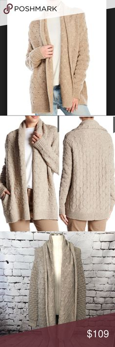 Vince Wool Blend Tuck Stitched Cardigan In Khaki Vince Wool Blend Tuck  Stitched Cardigan In Khaki color. Chunky knit tan beige open front cardigan  sweater. 209364f477