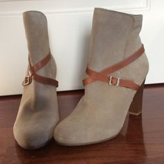 "Nude Loft booties Nude with brown leather strap detail. Thick heel, 3"". LOFT Shoes Ankle Boots & Booties"