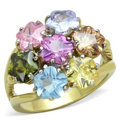 CJG2725 Multi Assorted Flower Gold Plated Ring