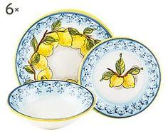 Set di 18 piatti in terracotta Limoni
