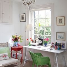 White home office with green chair | Decorating