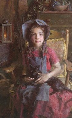 Morgan Westling Confidante Limited Edition Canvas #MorganWeistling #Figurative. Morgan Weistling's contemporary impressionism describes a timeless America of the not-too-distant past, as well as the beauty of everyday childhood moments.
