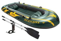 Intex Seahawk Inflatable Boat Set with Aluminum Oars Best Inflatable Boat, Open Water, Fishing Boats, Rafting, Outdoors, Sports, Pump, Amazon, Model