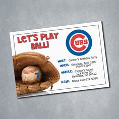 $10 Chicago Cubs MLB Baseball Birthday Invitation. One sided Digital File. || Etsy Shop: MeghansView