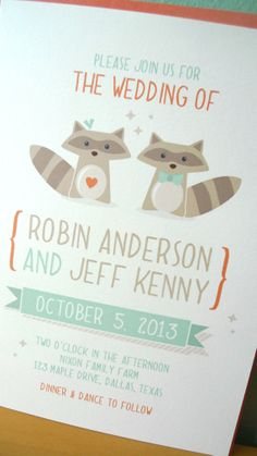 Whimsical Raccoon Wedding Invitations, Nature Wedding Invitations