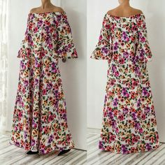 New SS16 Floral Maxi Model ! This floral maxi dress is a new addition to our spring collection and features off the shoulder design, pockets for functionality and white cotton fabric that is perfect for any weather ! Adorable !