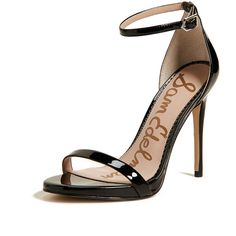 Sam Edelman Ariella Sandals (2 945 UAH) ❤ liked on Polyvore featuring shoes, sandals, black, black stilettos, buckle sandals, strappy sandals, black strappy stilettos and black open toe shoes