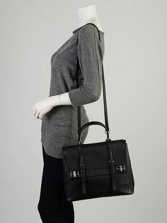 Prada Black Saffiano Leather Top Handle Briefcase Bag BN2789