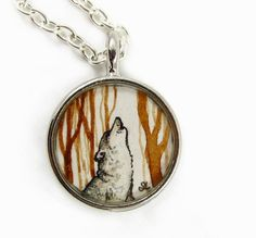 A Wolf, wearable art charm, round painting pendant ~