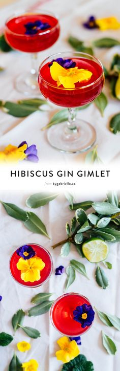 An herbal Hibiscus Gin Gimlet recipe with you guessed it - herbal tea and edible flowers! Click through for the full recipe | bygabriella.co