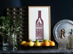 Citrus fruits and vintage decanters