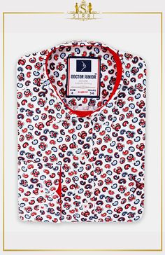 Shop Boys Slim fit Paisley Printed Casual Shirt in White and Red at SIRRI designed by Doctor Junior. Ditch the tie and wear it with some casual trousers and plain coloured waistcoat with a smart hat for a contemporary yet vintage look Cooler Look, Boys Shirts, Paisley Print, Slim Fit, Neue Trends, Vintage Looks, Printed Shirts, Casual Shirts, Kids Suits