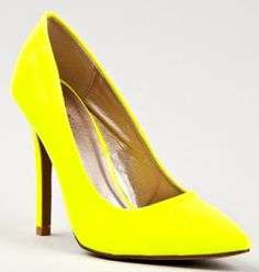 Qupid POTION-01 Neon Pointed Toe High Heel Slip On Pump,