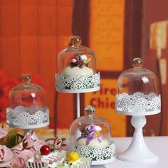 1 Pcs Iron Mini Round Wedding Lace Decorative Cake Stands Dessert Fruit Plates Pan with Glass Cover