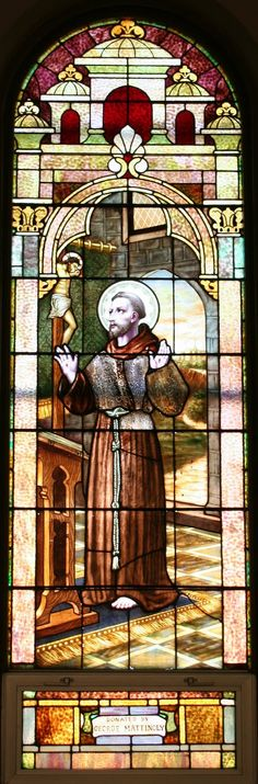 Stained glass window featuring St. Francis.