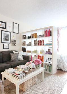 Studio apartment divider in Jacqueline Clair's New York City apartment.