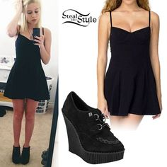 Bea Miller: Black Skater Dress, Creeper Boots