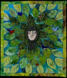 Green Man by Larkin Jean Van Horn - Ceramic face by Diane Briegleb