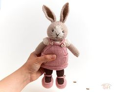 Amigurumi teddy bear toy Elisa a knitted stuffed plush bunny animal with clothes Little Cotton Rabbits, Teddy Bear Toys, Plush Animals, Bunny, Unique Jewelry, Handmade Gifts, Pattern, Etsy, Clothes