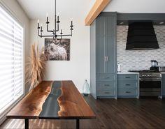 #resintabletop #resinart #diningtabledesign #rivertable #customtable Walnut Dining Table, Dining Table Design, Live Edge Furniture, Furniture Design, Resin Table Top, Living Spaces, Minimalist, Studio, Wood