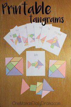 Printable tangrams + challenge cards make an easy DiY gift idea. Print & cut out… Printable tangrams + challenge cards make an easy DiY gift idea. Print & cut out the pieces and cards for hours of kids entertainment. Best of One Mama's Daily Drama Math Games, Toddler Activities, Learning Activities, Kids Learning, Fun Math, Visual Motor Activities, I Spy Games, Math Math, Learning Letters