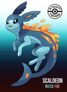 Scaldeon (Water/Fire) - On rare occasion, an Eevee can be affected by more than one environmental factor, and reacts to grow into a new, rare evolution. Water/Fire Eeveelutions evolve from Eevee who are drawn to places of aquatic volcanic. Solgaleo Pokemon, Pokemon Rare, Pokemon Eevee Evolutions, Pokemon Sketch, Pokemon Breeds, Pokemon Fusion Art, Pokemon Memes, Pokemon Mignon, Eevee Cute
