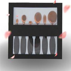 6Pcs Oval Toothbrush Makeup Brushes Set Pro Foundation Powder Blush Concealer Brush Kits Eyeshadow Eyeliner Lips Brush With Box #Affiliate
