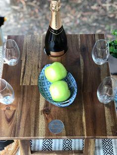 Hardwood Folding Wine Table   4   Glass   The Block Shop