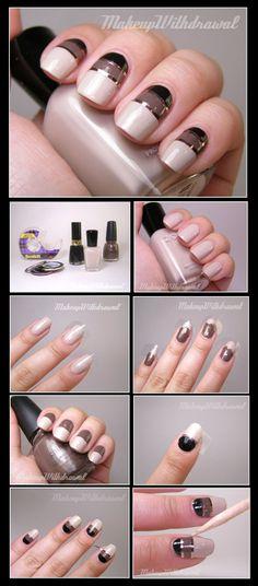 TUTORIAL – Metallic Striping Tape Nail Art #nails #nailart