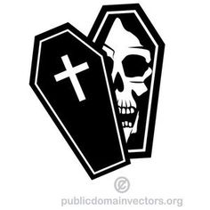Vector image of an open coffin with human skull inside it. Free Vector Images, Vector Art, Rollup Banner Design, Oriental, Silhouette Clip Art, Human Skull, Resin Crafts, Skull Art, Coffin