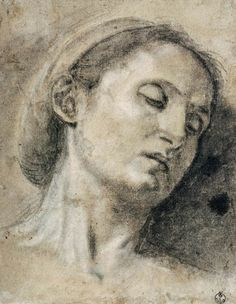 Girolamo Savoldo, c.1480-c.1548, Italian, Head of a Woman with Eyes Closed, n.d.  Black chalk heightened with white chalk, on faded blue paper; 25.5 x 19.7 cm.  Galleria degli Uffizi, Florence.  High Renaissance, Mannerism.
