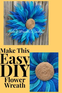 Make a fabulous easy wreath with Julie's Wreath Boutique, with. Best Picture For DIY Wreath succul Wreath Crafts, Burlap Crafts, Diy Wreath, Wreath Ideas, Ornament Crafts, Burlap Flower Wreaths, Deco Wreaths, Holiday Wreaths, Ribbon Wreaths