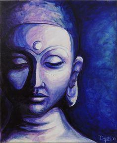 Blue and Purple Acrylic Buddha Painting by DhansonArt on Etsy