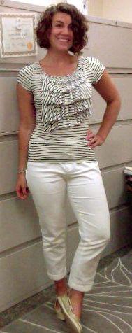 8/11/14--Striped bib ruffle shirt, white slacks, gold boat shoes, silver watch, monogrammed bracelet.