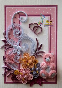 neli - baby and flower quilled card