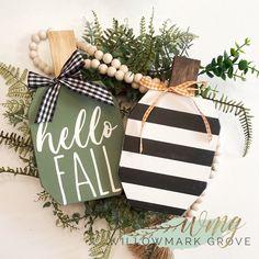 Fall Crafts, Halloween Crafts, Holiday Crafts, Fall Halloween, Wooden Pumpkins, Fall Pumpkins, Wooden Pumpkin Crafts, Dollar Tree Crafts, Thanksgiving Decorations