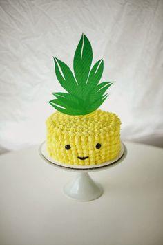 Tarta de piña, ideas para tartas, dulces  tiernos, cute sweet, pineapple cake www.PiensaenChic.com