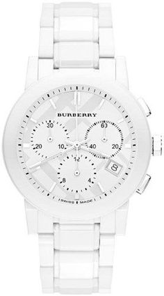 Burberry White Ceramic Chronograph Mens Watch BU9080, Women's, Size: 38mm