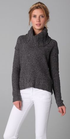 James Perse Marled Boxy Cowl Sweater thestylecure.com