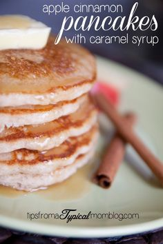 I love using fresh fruit in my recipes. These Apple Cinnamon Pancakes with Caramel Syrup have fresh apples mixed right into the batter. They are a perfect breakfast all year round. The Caramel Syrup is to die for too!: I love using fresh fruit in my recipes. These Apple Cinnamon Pancakes with Caramel Syrup have fresh apples mixed right into the batter. They are a perfect breakfast all year round. The Caramel Syrup is to die for too!
