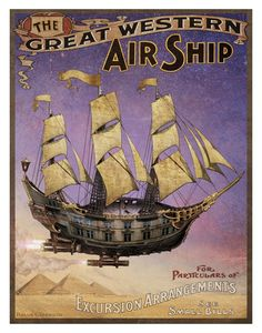 Minus the rockets and that it's in the atmosphere, this is how I see the ships. Thoughts?  Steampunk Vintage Ad Series - Airship - Art Print by Brian Giberson