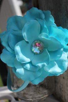 awesome large turquoise flower on stetch headband infant thru  young adult great for spring summer