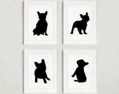 French Bulldog Silhouettes set of 4, Frenchie Sign Wall Art Print, Dog Room Decor, Custom Black Figurines