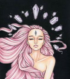 Crystal effect Art by @durianaddict ________ #thirdeye #dreadlocks #crystals #pink #art