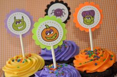 12 Halloween Cupcake Toppers - Halloween Party Decorations by sosweetpartyshop on Etsy https://www.etsy.com/listing/57706471/12-halloween-cupcake-toppers-halloween