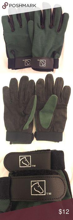 Ladies Horseback Riding Gloves Beautiful hunter green and black horseback riding  training gloves. Ladies (S) SSG Accessories Gloves & Mittens