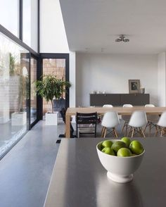 Would love floor to ceiling windows like this in my dining room but only if I didn't have to clean them (I'm scared of heights!) home designed by Belgian architect Sarah Flebus for #hasa.be