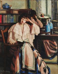 1800-1900s Women Artists Agnes Noyes Goodsir (Australian painter, 1864-1939) Chinese Skirt on artist's companion Rachel Dunn 1933
